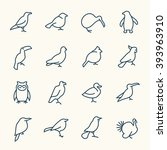 birds line icons | Shutterstock .eps vector #393963910