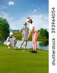 kids playing golf | Shutterstock . vector #393964054