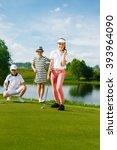 kids playing golf | Shutterstock . vector #393964090