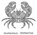 Crab Zentangle Icon. Vector...