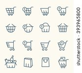 shopping baskets line icons | Shutterstock .eps vector #393965800