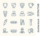 dental line icons | Shutterstock .eps vector #393967348