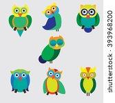 owl design isolated on grey... | Shutterstock .eps vector #393968200
