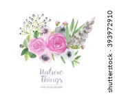 a  floral collection of painted ... | Shutterstock . vector #393972910