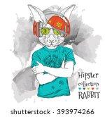 Illustration Of Rabbit Hipster...