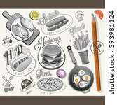 retro vintage style fast food... | Shutterstock .eps vector #393981124