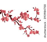 Stock vector branch of pink blossoming sakura japanese cherry tree vector isolated illustration on white 393984700