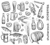 a collection of sketches on the ... | Shutterstock .eps vector #393989986