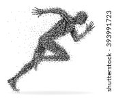 a sprinter made from dots... | Shutterstock .eps vector #393991723