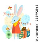 happy easter greeting card.  | Shutterstock .eps vector #393992968