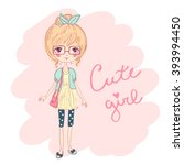 cute fashion girl in glasses... | Shutterstock .eps vector #393994450