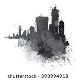 vector abstract cityscape  ... | Shutterstock .eps vector #393994918