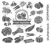 monochrome vegetables icons. ... | Shutterstock .eps vector #393994984