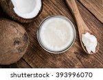 coconut oil  selective focus ... | Shutterstock . vector #393996070