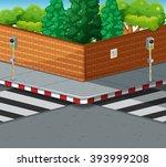 Street Corner With Two Zebra...