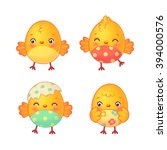 easter chicks set. cute easter... | Shutterstock .eps vector #394000576
