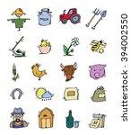 colored hand drawn farm icon... | Shutterstock . vector #394002550