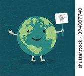 cartoon earth illustration.... | Shutterstock .eps vector #394007740