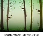 spring forest and birds with... | Shutterstock .eps vector #394010110