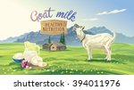 mountain landscape with goat... | Shutterstock .eps vector #394011976