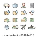 parcel delivery icons. fast... | Shutterstock .eps vector #394016713