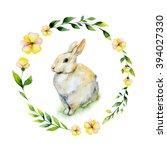 watercolor rabbit sitting on... | Shutterstock . vector #394027330