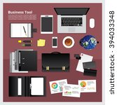 set of business tool work space ... | Shutterstock .eps vector #394033348