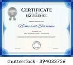certificate template in vector... | Shutterstock .eps vector #394033726