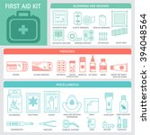 first aid kit checklist  with... | Shutterstock .eps vector #394048564
