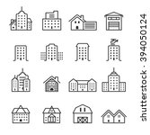 thin line building icon set ... | Shutterstock .eps vector #394050124