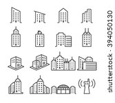 Thin Line Building Icon Set 2 ...