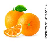 ripe oranges fruits and slices... | Shutterstock .eps vector #394055713