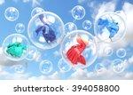 things falling in soap bubbles... | Shutterstock . vector #394058800