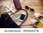 travel accessories costumes.... | Shutterstock . vector #394064278