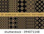 set of 10 geometric seamless... | Shutterstock .eps vector #394071148