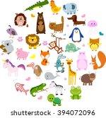 Stock vector vector illustration of cute animals and birds alligator fox giraffe bear cat dog elephant 394072096