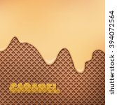flowing caramel cream over... | Shutterstock .eps vector #394072564