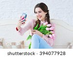 trendy young woman posing one... | Shutterstock . vector #394077928