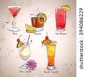 new era cocktail set  different ... | Shutterstock . vector #394086229
