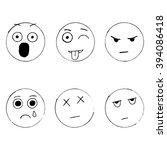 vector set of emoticon doodles  ... | Shutterstock .eps vector #394086418
