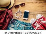 travel clothing accessories... | Shutterstock . vector #394093114