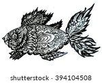ornamental graphic fish sketch  ... | Shutterstock . vector #394104508