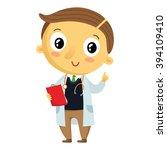 kid doctor  vector cartoon... | Shutterstock .eps vector #394109410