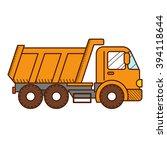dump truck isolated on white... | Shutterstock .eps vector #394118644