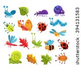 insect and leaves collection of ... | Shutterstock .eps vector #394131583