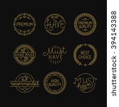 vector set of linear badges and ... | Shutterstock .eps vector #394143388