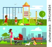 children playground vector... | Shutterstock .eps vector #394144834