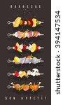 bbq. kebabs meat. skewers.... | Shutterstock .eps vector #394147534
