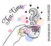 tea time poster concept. tea... | Shutterstock .eps vector #394148320