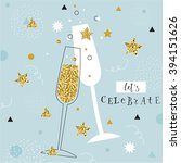 champagne flutes with golden... | Shutterstock .eps vector #394151626